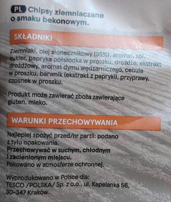 Chipsy ziemniaczane o smaku bekonowym. - Składniki