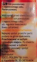 Sok pomidorowy z zagęszczonego soku pomidorowego - Składniki