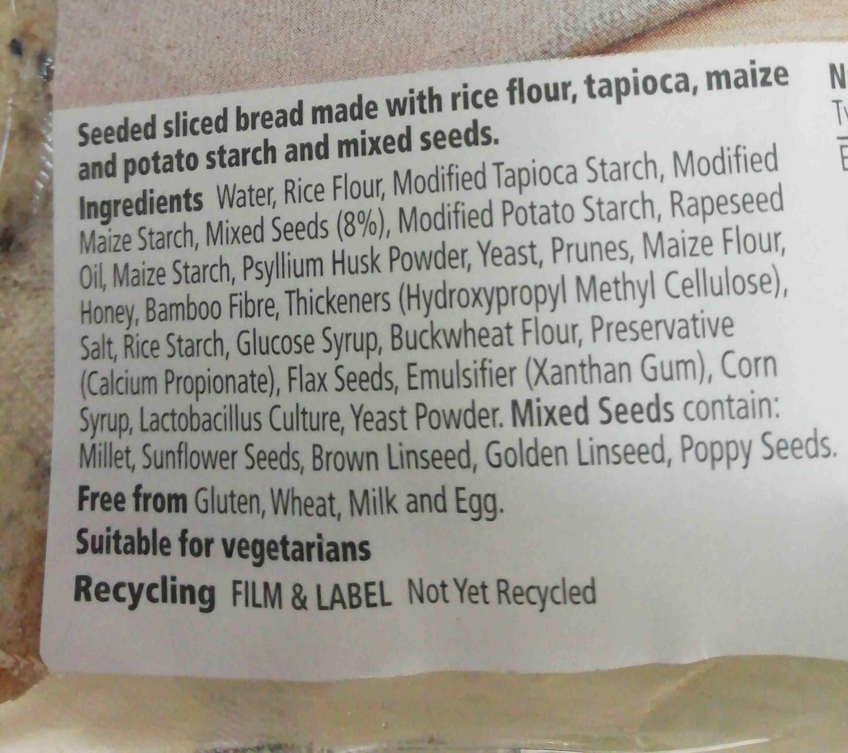 Tesco free from - Ingredients - en