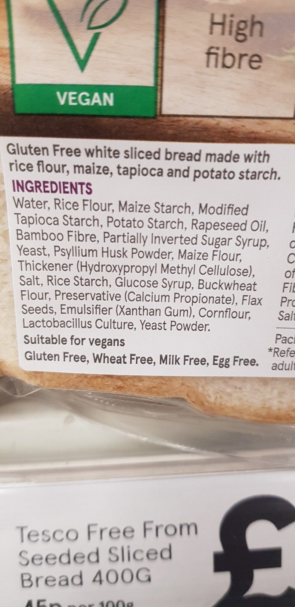 Tesco Free From White Sliced Bread 400G - Ingredients - en