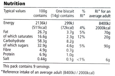 Dark chocolate butter biscuits - Informations nutritionnelles - en