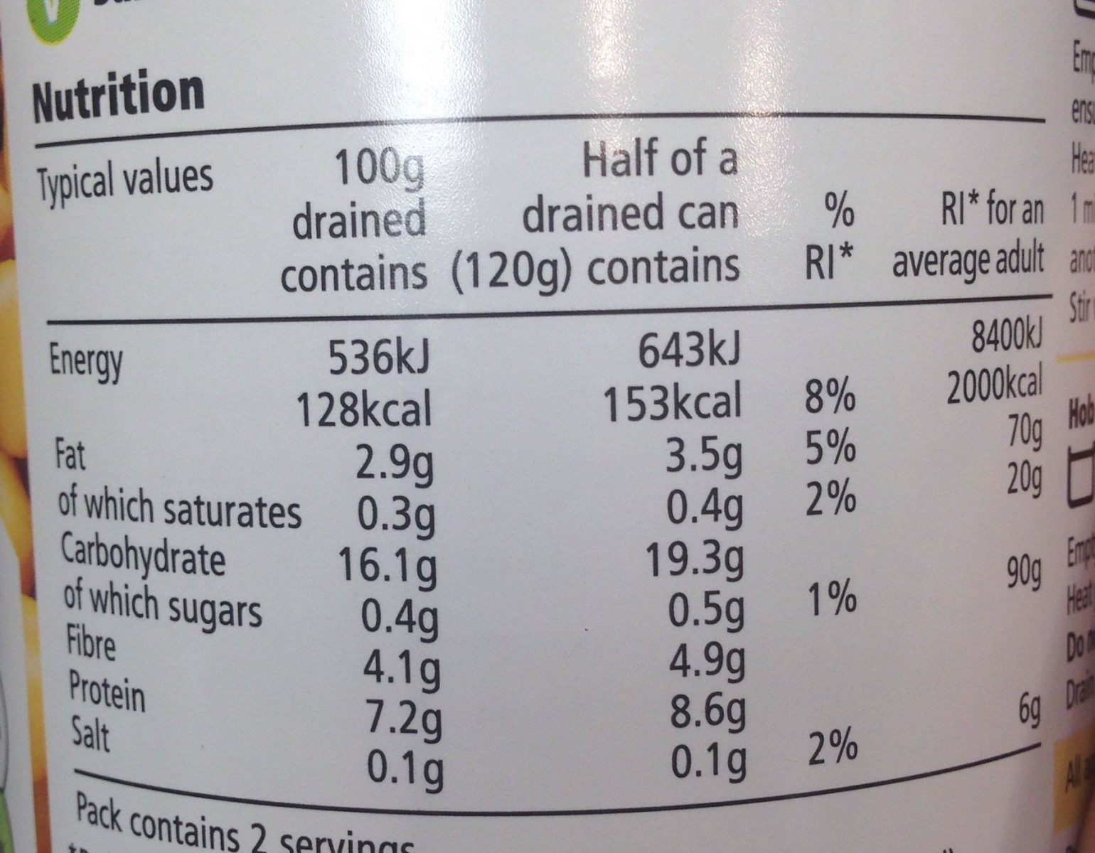 Tesco Chickpeas In Water - Nutrition facts - en