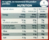 6 Mince Pies - Nutrition facts - en