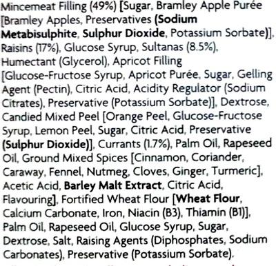 12 Mince Pies - Ingredients