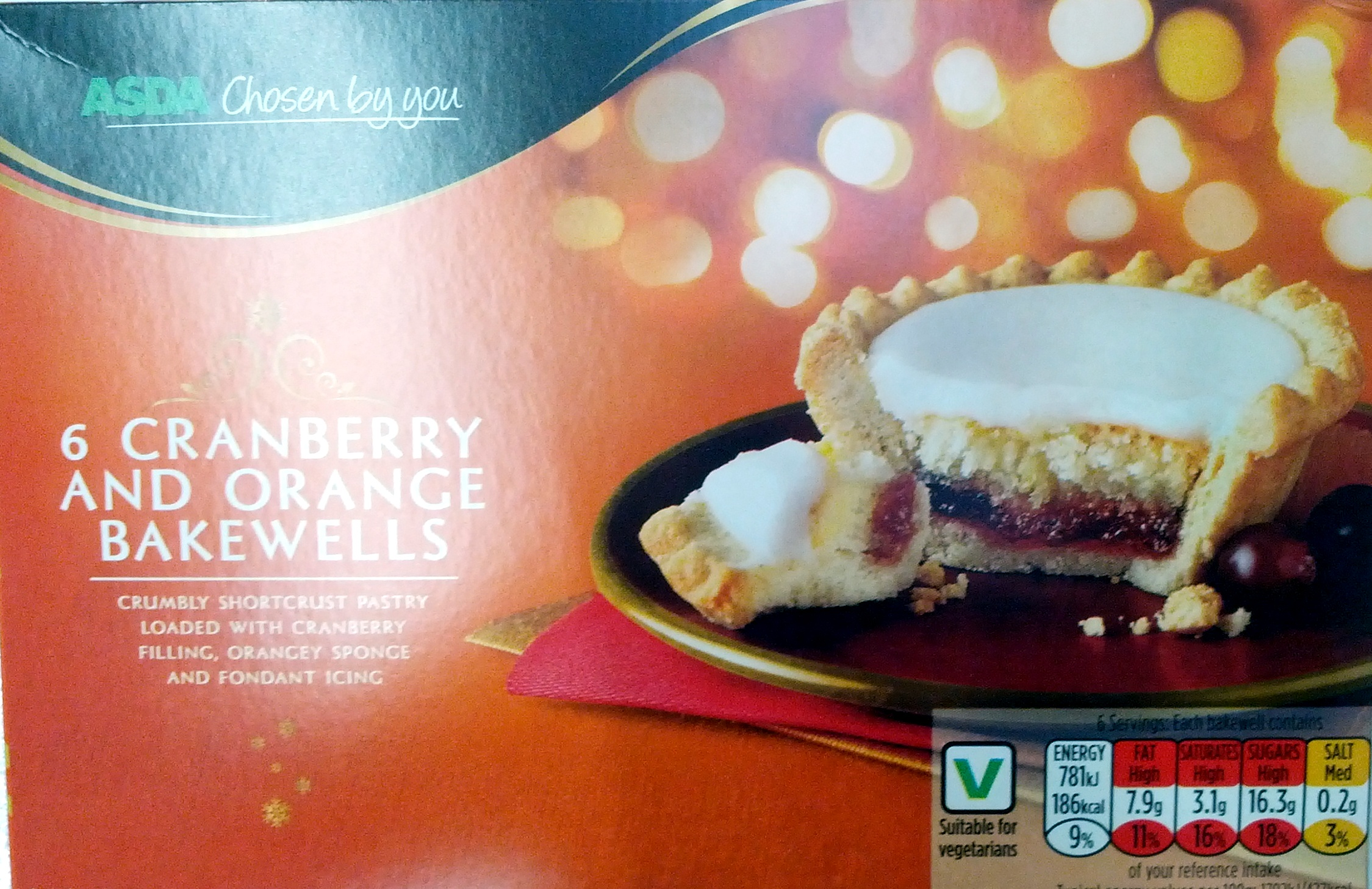 6 Cranberry and Orange Bakewells - Product