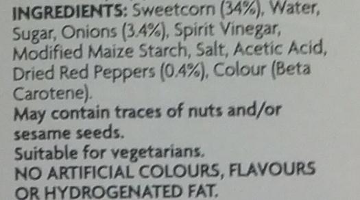 Sweetcorn Relish - Ingrediënten - en