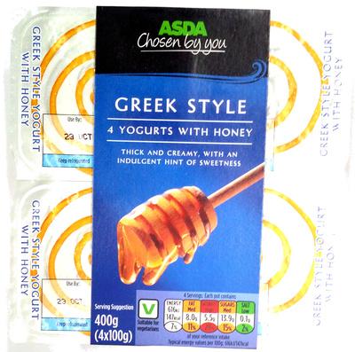 4 Greek Style Yogurts with honey - Product