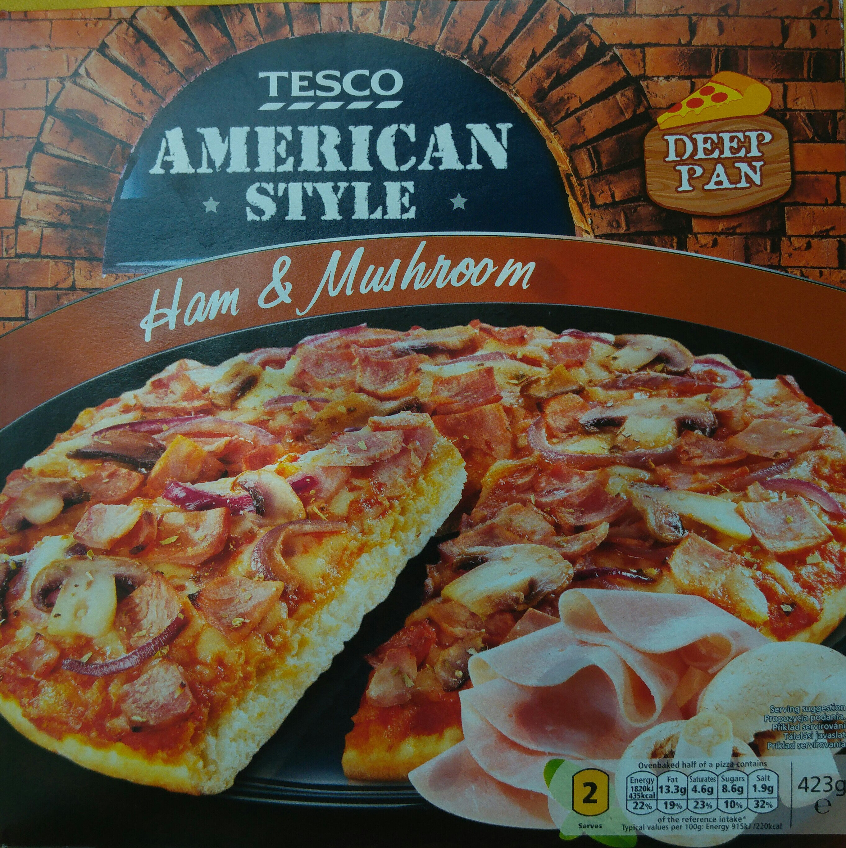 Deep Pan pizza base topped with tomato sauce, formed ham, mozzarella cheese, mushroom and red onion. - Produit - en