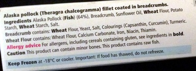omega 3 fish fingers - Ingredients