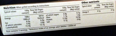 omega 3 fish fingers - Nutrition facts