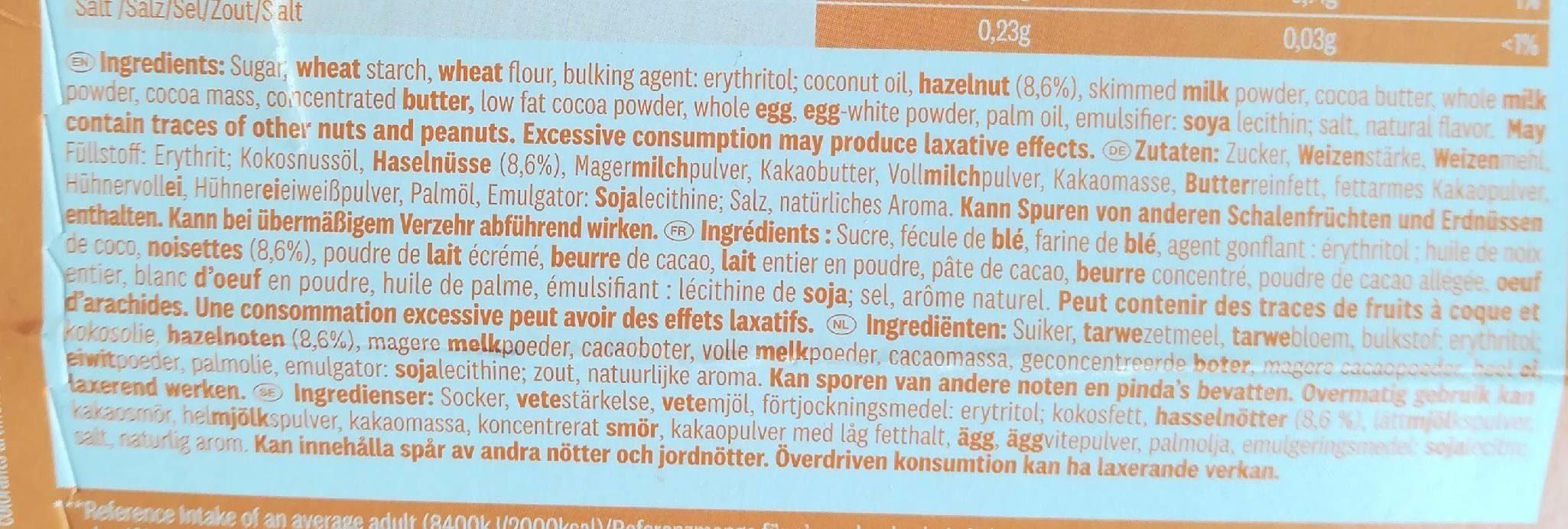 Hazelnut chocolate sticks - Ingrédients - fr