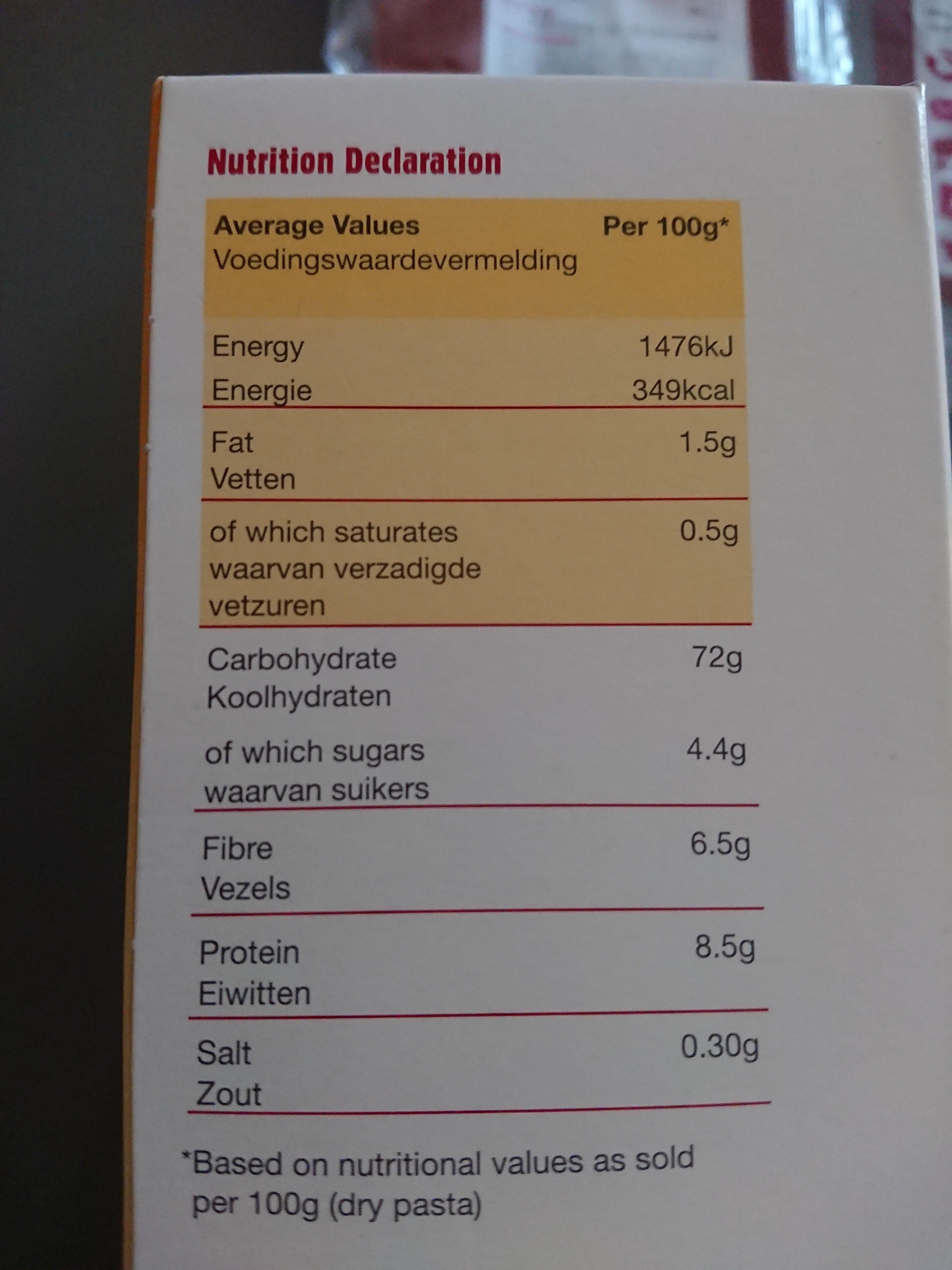 Gluten Free Pasta Fusilli - Nutrition facts