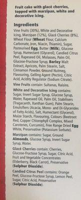 Tesco Top Iced Fruit Cake 907G - Ingredients