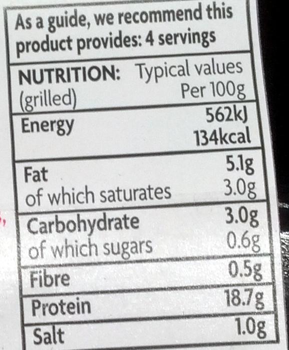 4 venison burgers - Nutrition facts - en