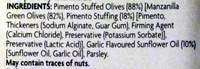 Pimento stuffed green olives - Ingredients