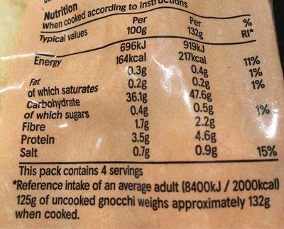 Tesco Gnocchi - Informations nutritionnelles