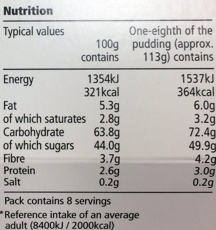 Christmas pudding - Voedingswaarden - en