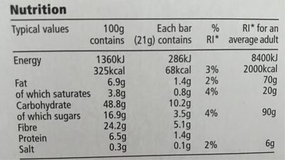 Tesco Light Choices 5 Chocolate Cereal Bars 105G - Nutrition facts