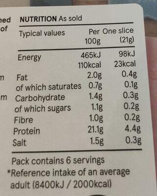 Prime cuts cooked ham - Voedingswaarden - en