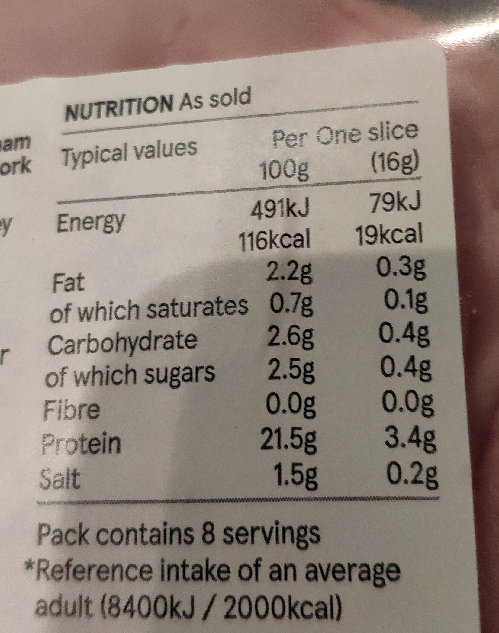Prime cuts water thin honey roast ham - Voedingswaarden - en