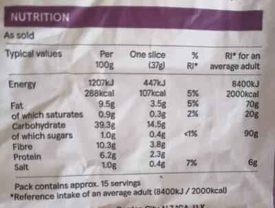 Tesco FreeFrom Seeded Sliced Bread - Nutrition facts - en