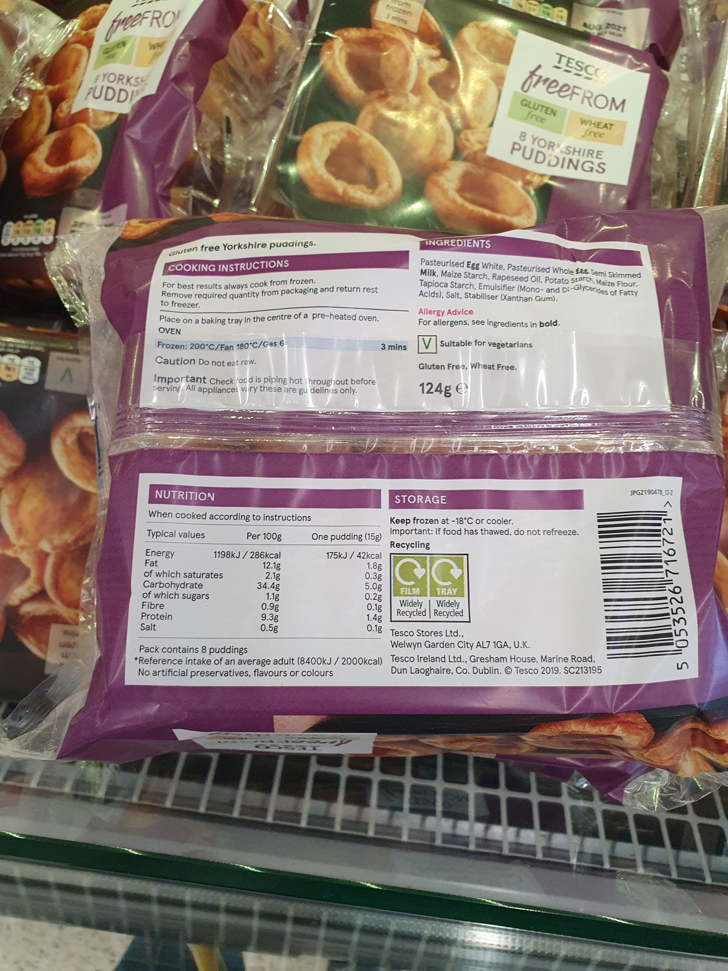 tesco free from Yorkshire puddings - Ingrédients - en