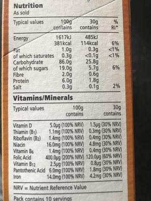 Tesco Free From. Honey Hoops - Nutrition facts - en