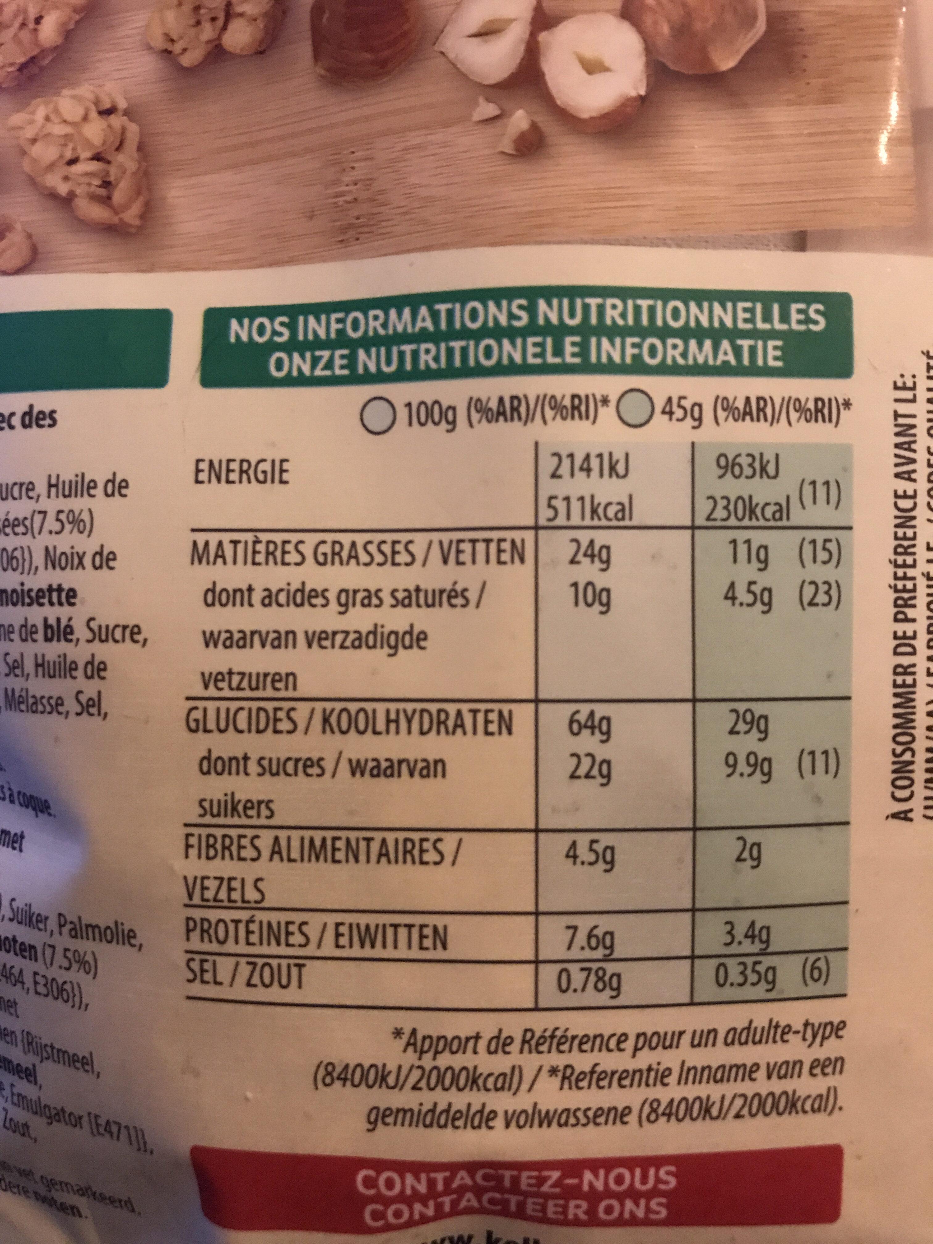 Céréales Extra Pepites Kellogg's Noisettes Caramelisées - Voedingswaarden - fr