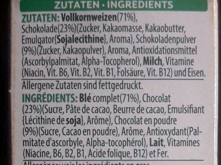 Toppas Choco - Ingrédients