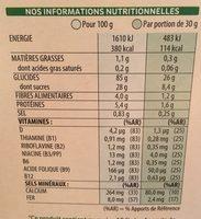 Miel pops - Información nutricional