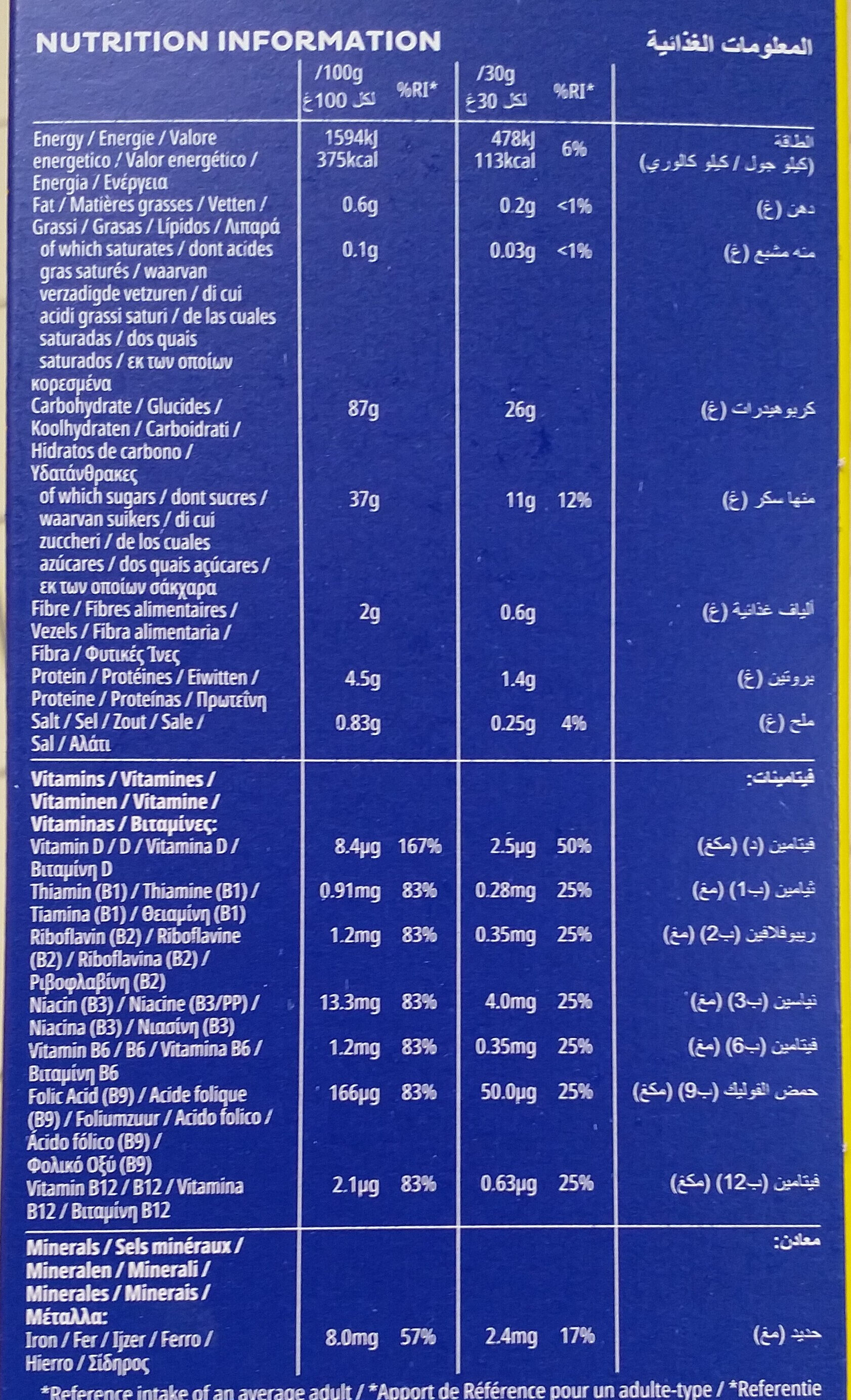Frosties - Nutrition facts