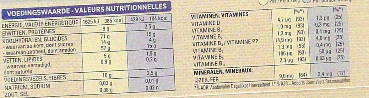 Special K HOT 3 céréales Original - Voedingswaarden