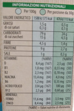 Kellogg's Special K Classic - Informazioni nutrizionali