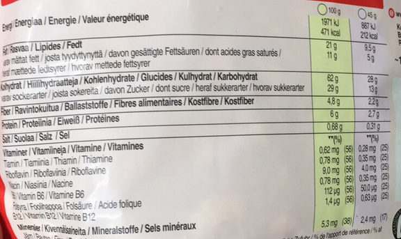 Crunchy Müsli : Fruit - Valori nutrizionali - fr