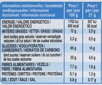 Barres croustillantes Noisettes et Amandes - Informations nutritionnelles