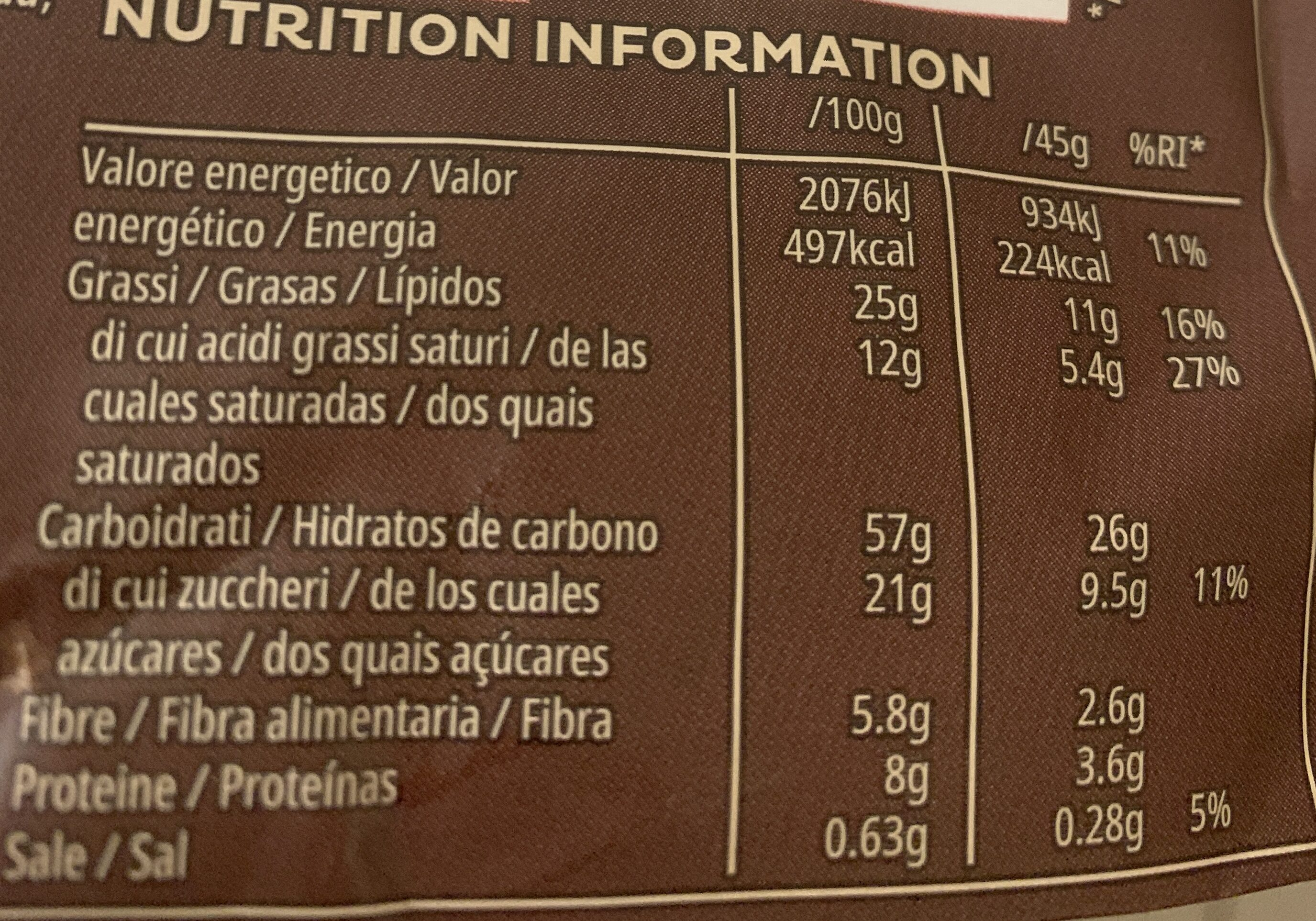 Kelloggs Extra chocolate y avellanas - Valori nutrizionali - es