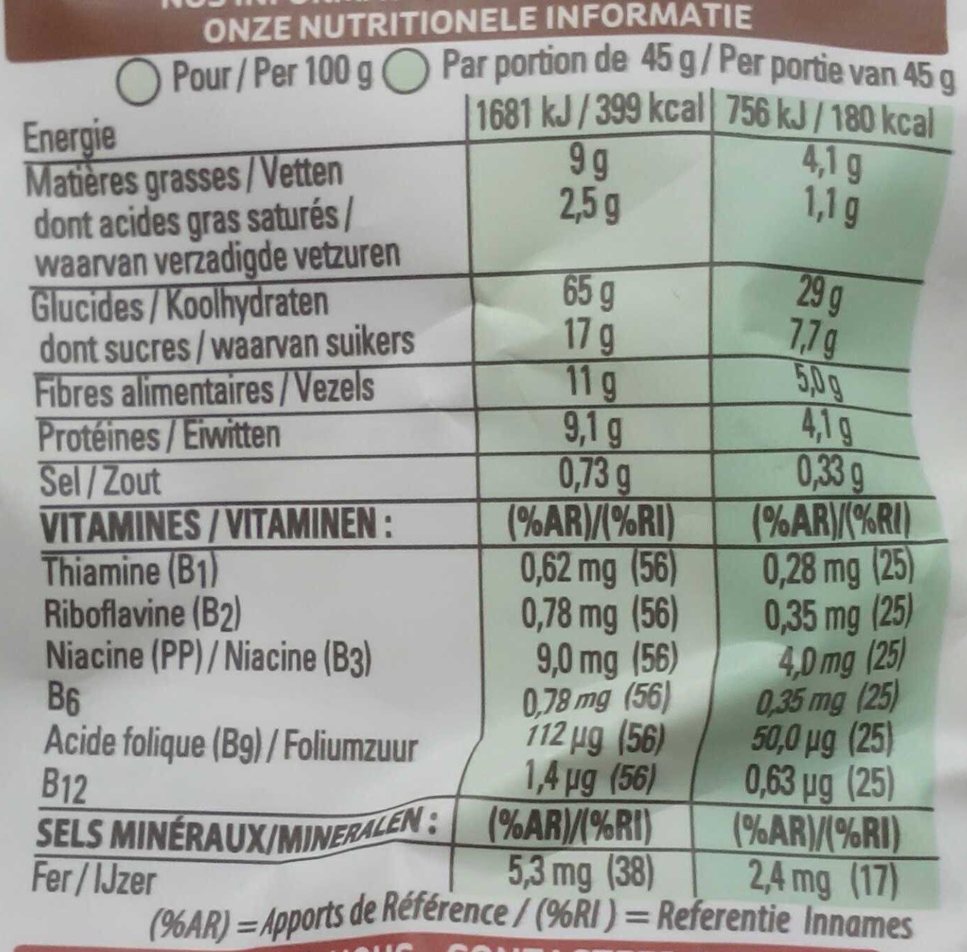 Crunchy Muesli - Valori nutrizionali - fr