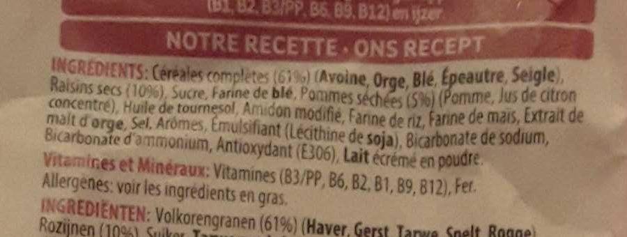 Crunchy Muesli raisins & pommes rouges - Ingrediënten - fr