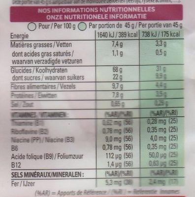 Crunchy Muesli raisins & pommes rouges - Voedingswaarden - fr