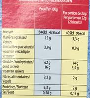Disney Frozen - Biscuits multi-céréales - Nutrition facts - fr
