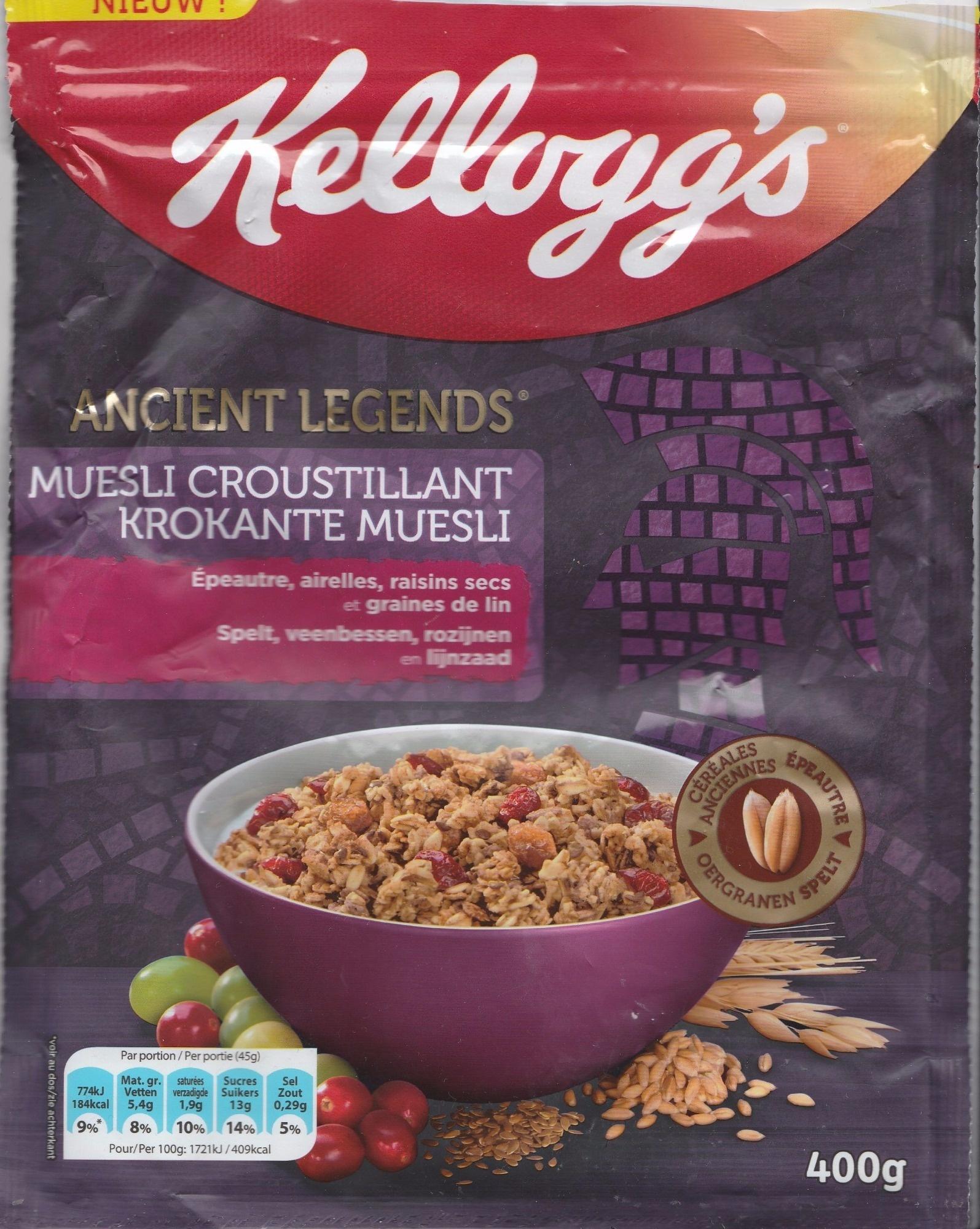 Muesli Croustillant (Epeautre, airelles, raisins secs et graines de lin) - Product - fr