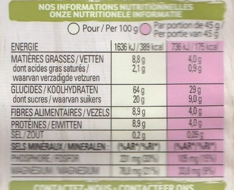 ANCIENT CEREALS MUESLI - Nutrition facts - fr