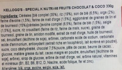 Cereales Special K Nutri-mi Chocolate 330 g - Ingredients