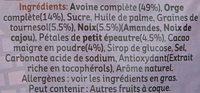 Muesli Croustillant - Petit épeautre, cacao, noix de cajou, amandes et graines de tournesol - Ingredients