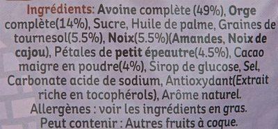 Muesli Croustillant - Petit épeautre, cacao, noix de cajou, amandes et graines de tournesol - Ingrédients - fr