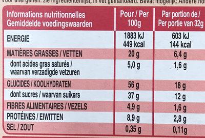 Extra Barre généreuse Amandes grillées et Cranberries - Nutrition facts