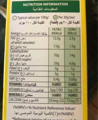 Barre de cereales coco pops - Informations nutritionnelles - fr