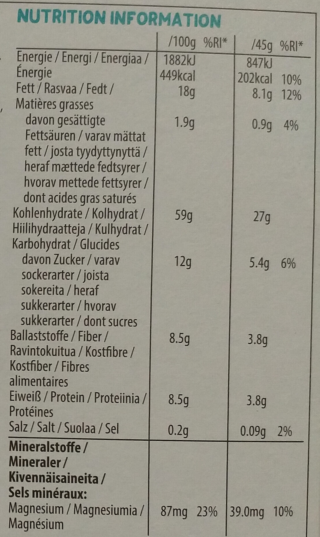 Crunchy Müsli Coconut & Cashew - Nutrition facts - de