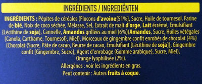 Kellogg's Extra Creations - Orange, gingembre enrobé de chocolat et amandes - Ingrediënten