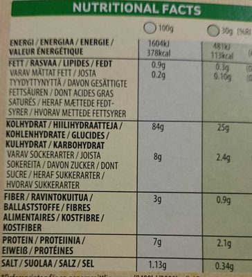 Corn Flakes - Nährwertangaben